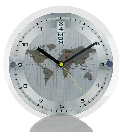 Ceas de birou cu functie worldtime, transparent / argintiu   4126107