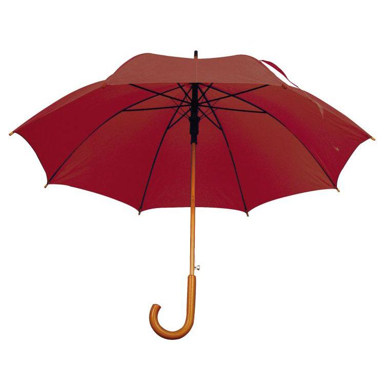 Umbrela automata cu tija si manerul curbat din lemn. ; cod produs : 4513102