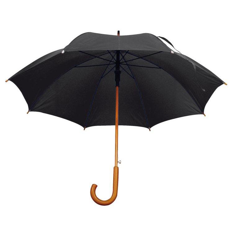 Umbrela automata cu tija si manerul curbat din lemn. ; cod produs : 4513103