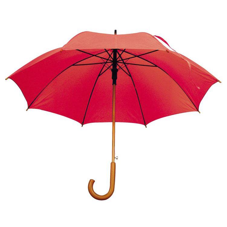 Umbrela automata cu tija si manerul curbat din lemn. ; cod produs : 4513105