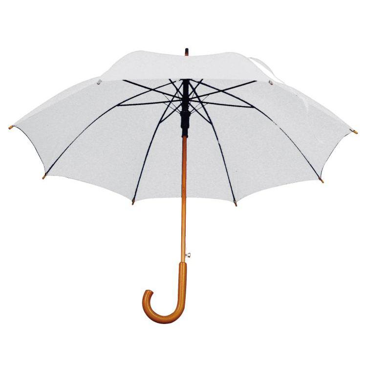 Umbrela automata cu tija si manerul curbat din lemn. ; cod produs : 4513106