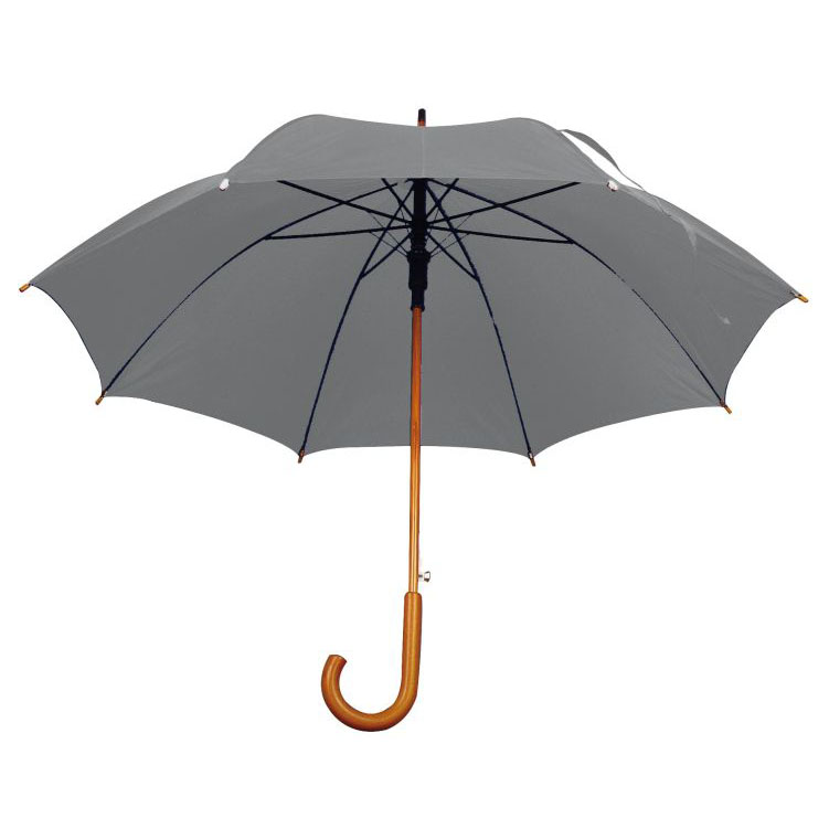 Umbrela automata cu tija si manerul curbat din lemn. ;4513107