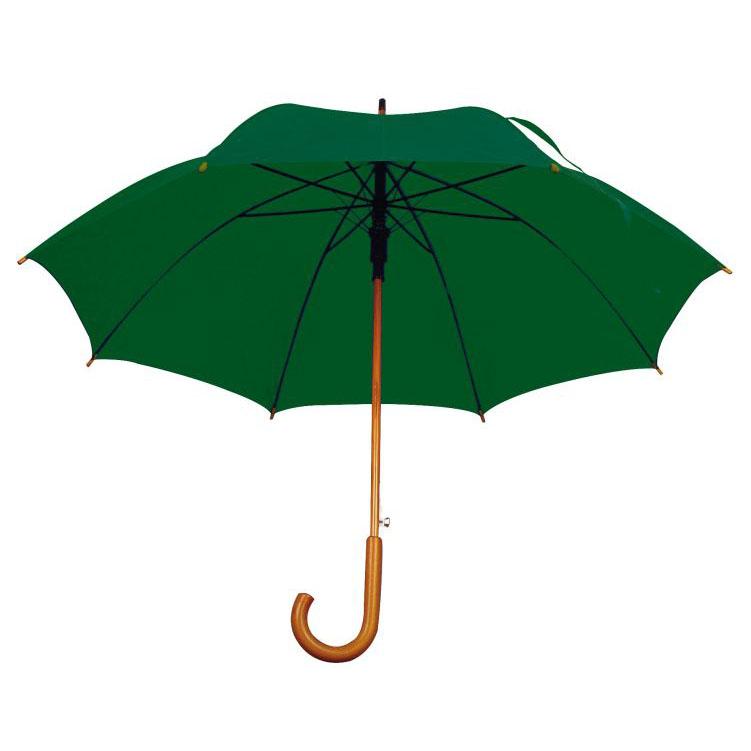 Umbrela automata cu tija si manerul curbat din lemn.;4513199