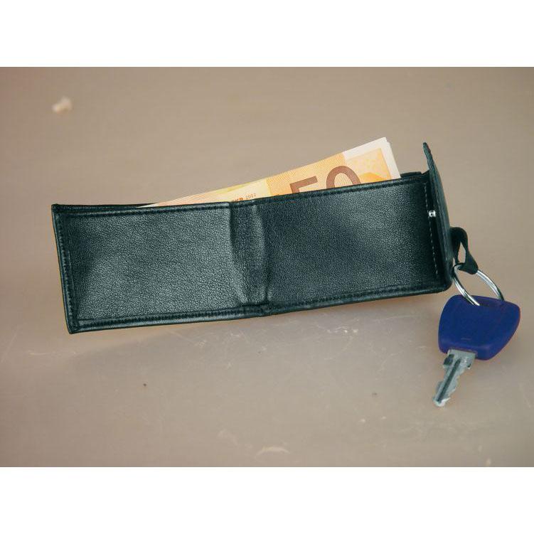 Portmoneu din piele cu breloc. Are compartimente diferite pentru monede si bancnote. | 9300803