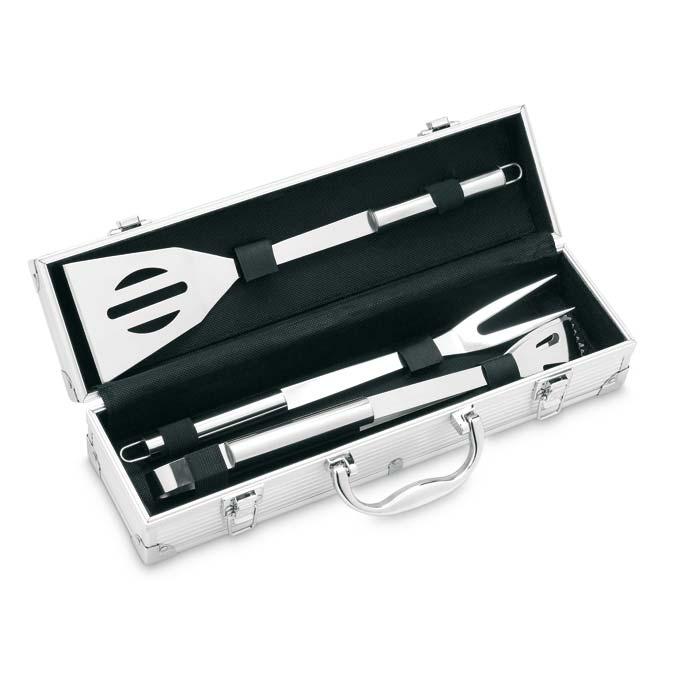 Valiza de aluminiu cu trei accesorii pentru gratar din otel inox | IT3475-14