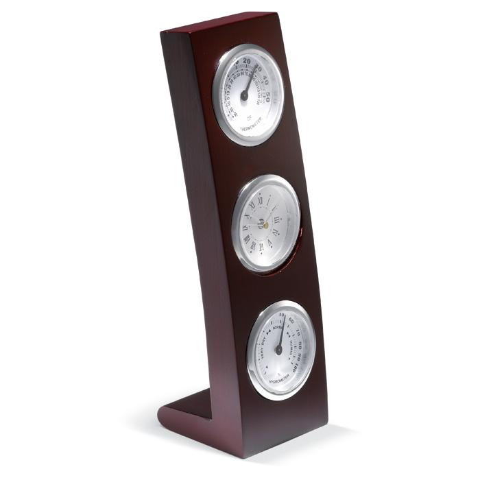Ceas cu higrometru si termometru in  rama din lemn verticala. 1 baterie inclusa. | KC2664-40