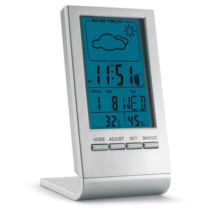 Statie meteo cu ecran LCD albastru. Afiseaza vremea, ora, data, temperatura si umiditatea. Functie de alarma. 1 baterie de tip L1131 inclusa.;KC6460-14