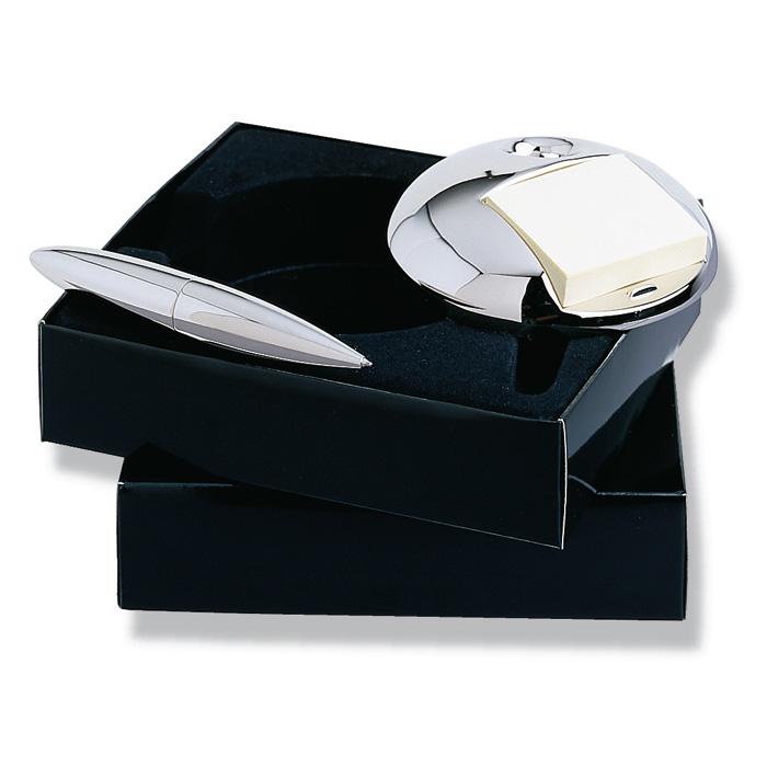 Set luxos pentru birou cu pix  stilou cromat si recipient cu foi pentru notite. | KC8447-17