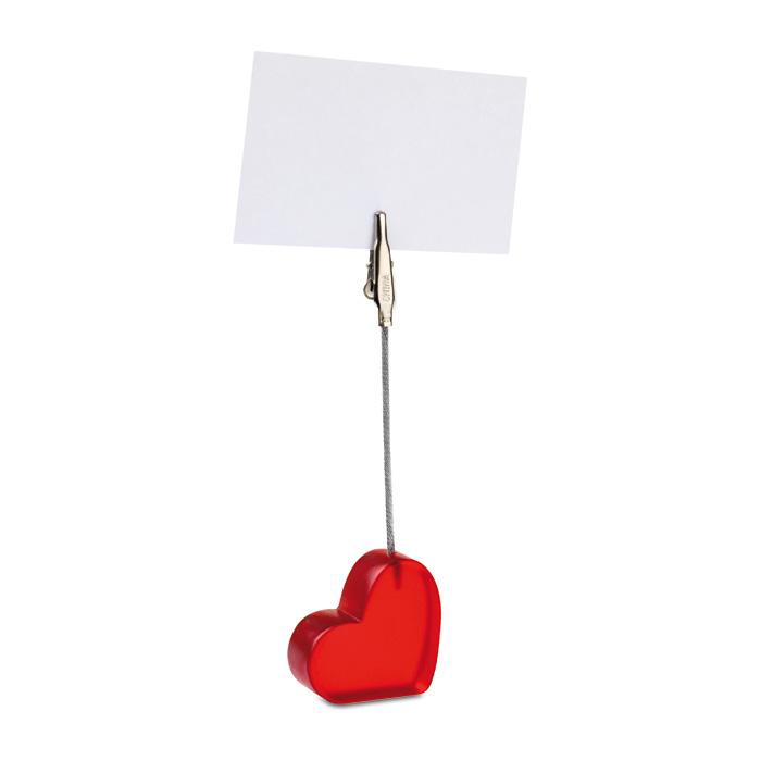 Clema in forma de inima pentru birou cu un suport rosu transparent | MO7157-05