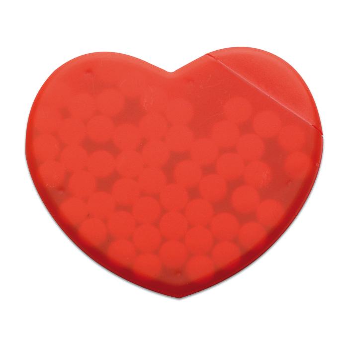 Cutie din plastic PP, in forma de inima, cu dropsuri cu aroma de menta | MO7158-05