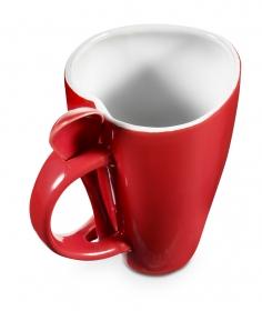 Ceaşcă cafea în formă de inimă, cu suport linguriţă, roşie | 2866-08