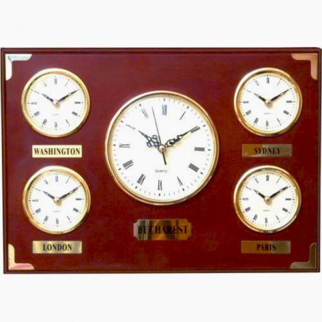 Ceas din lemn multiorar, cinci capitale | F2799
