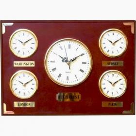 Ceas din lemn multiorar, cinci capitale;F2799