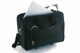 Geanta business trolley pentru laptop pe rotile, neagra | 72013.30