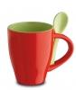 Cana ceramica Norwood si lingurita, rosie; cod produs : 81065.20