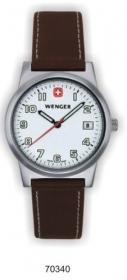 Ceas Wenger, cadran alb, curea maro din piele in cutie;70340