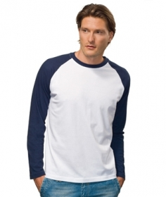 Tricou Hanes cu maneca lunga alb / Navy | HA5620_NY