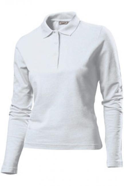 Tricou Hanes Polo Long Sleeve, alb | HAG139_WH