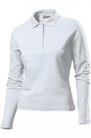 Tricou Hanes Polo Long Sleeve, alb | HAG139_WH