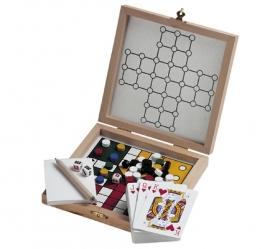 Joc 5 in 1 in cutie de lemn;KC2950-40