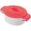 Oala de portelan cu capac de silicon, rosie; cod produs : 8889405