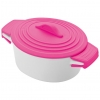 Oala de portelan cu capac de silicon, roz; cod produs : 8889411
