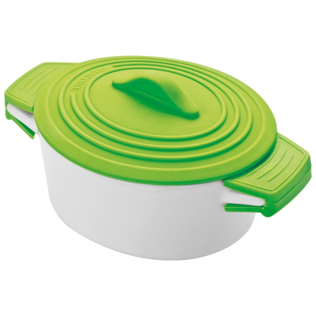Oala de portelan cu capac de silicon, verde deschis  | 8889429