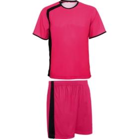 Echipament sportiv unisex din material combinat, pantaloni cu partea laterală în contrast și tricou cu mânecă raglan cu partea laterală în contrast.  Material tehnic piqué din fibră respirabilă, care este plăcut la atingere și se usucă ușor. | 0434_4002