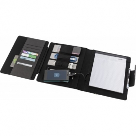 A5 Svepa PU document folder with 5000mAh power bank, Grey | 6725-03