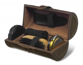 Set lustruit pantofi în geantă deluxe, maro închis | 3836-11